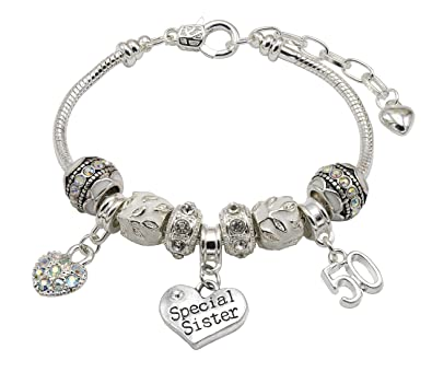 Special Sister 50th Birthday Charm Bracelet With Gift Box Womens Jewellery Hut Amazoncouk