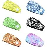 Finrezio 6PCS Headbands with Button for Women Men Head Wrap Face Cover Holder for Nurses Non Slip Hair Bands for Yoga Sports
