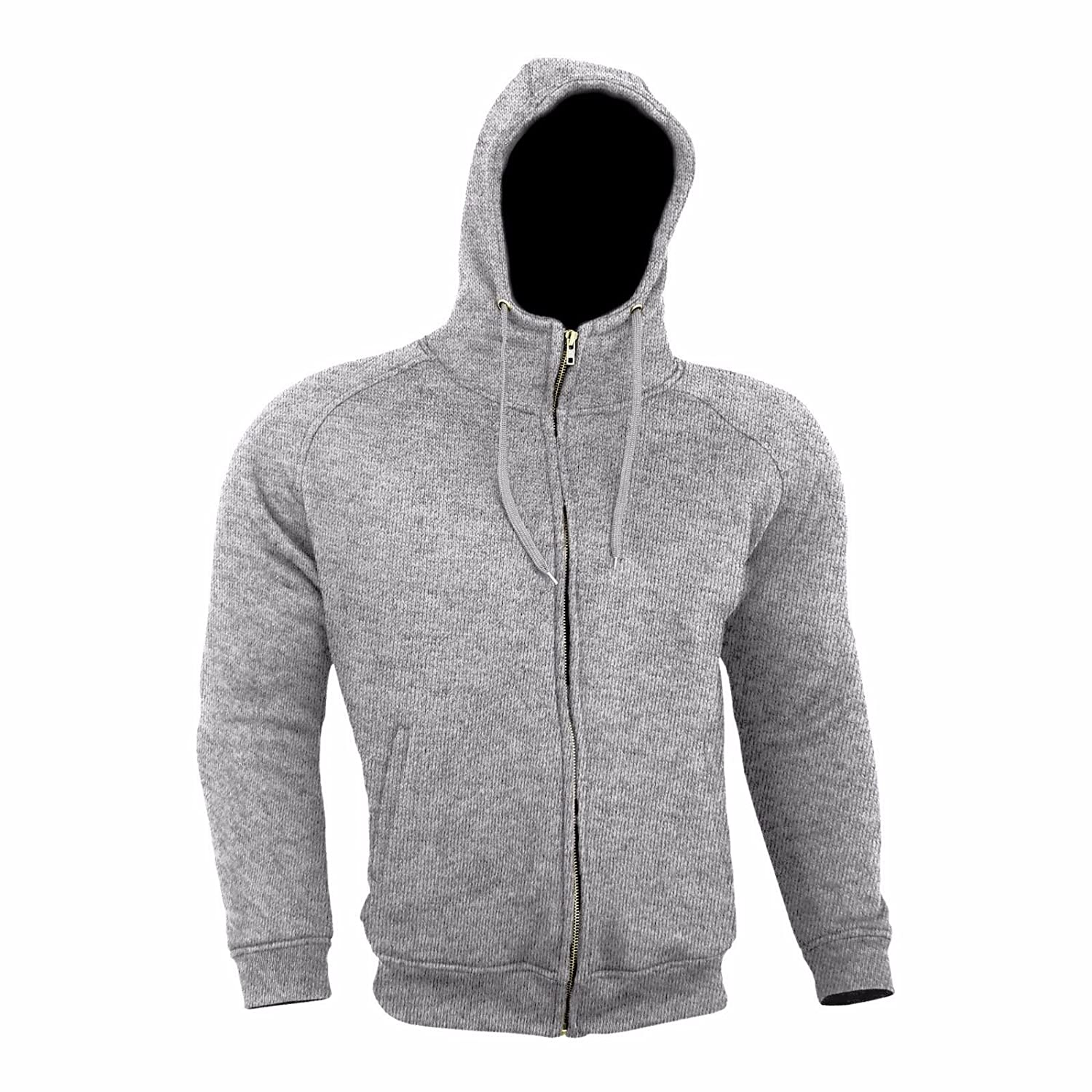 Light Grey Armoured Hoodie Motorcycle Motorbike Summer Hoody Jacket Zip Up Removable Armor Bikers Size = Medium