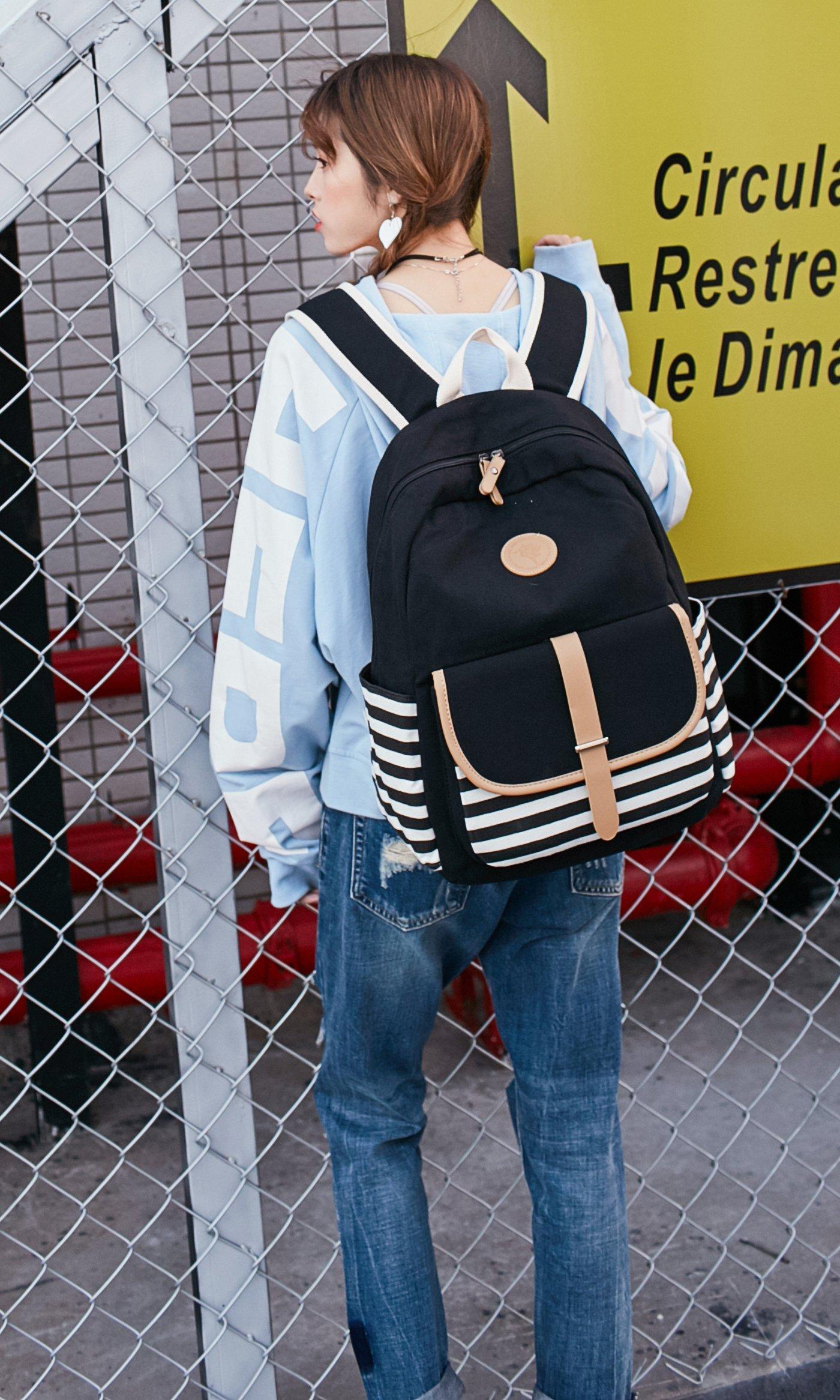 School Backpack for Girls, Gazigo Womens High School College Bookbags Laptop Bag (Black) by Gazigo (Image #10)