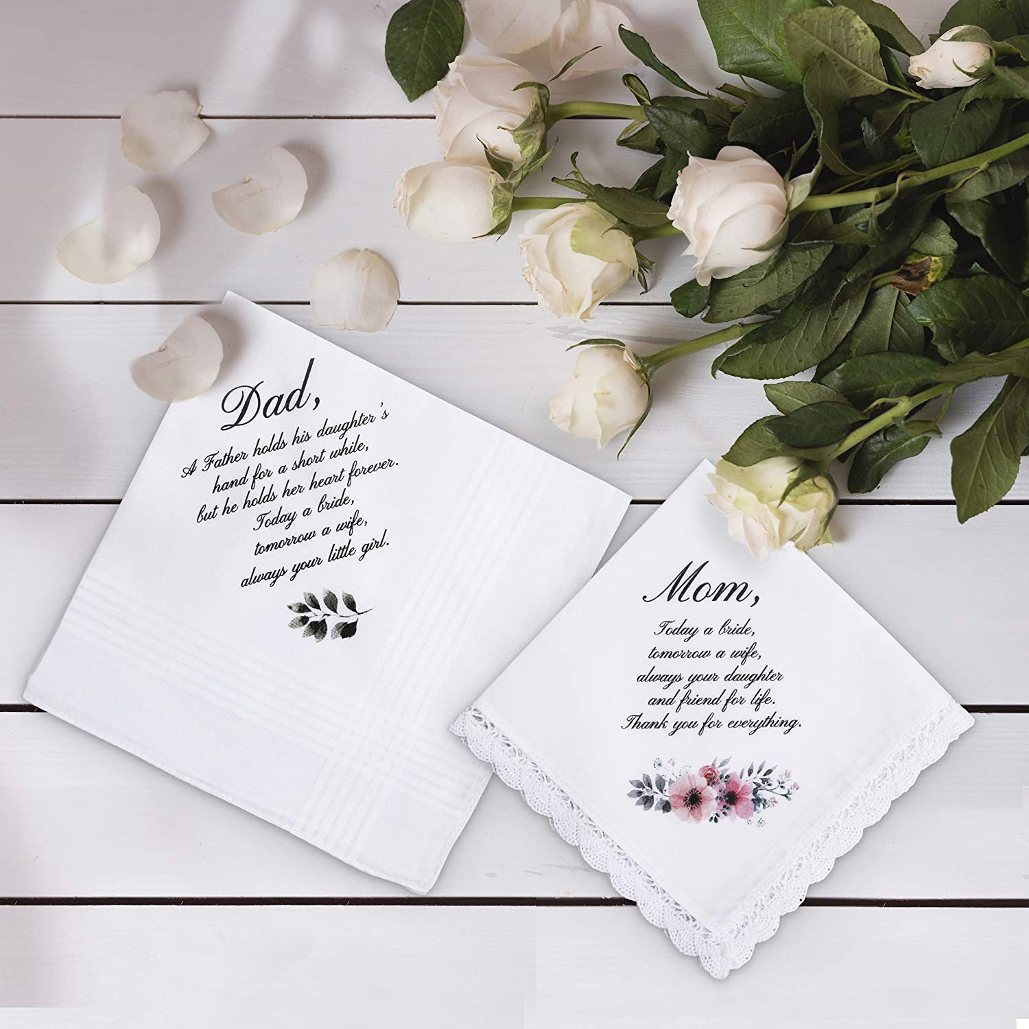Mom and Dad gift Mother and Father of the Bride Gifts Wedding Handkerchief Set Bridesmaid Gifts Parents Wedding Gift DM008A