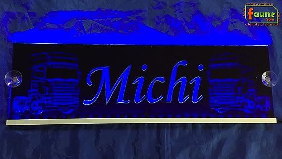 Michi Azul LED Camiones Truck Cartel grande en Negro o su ...