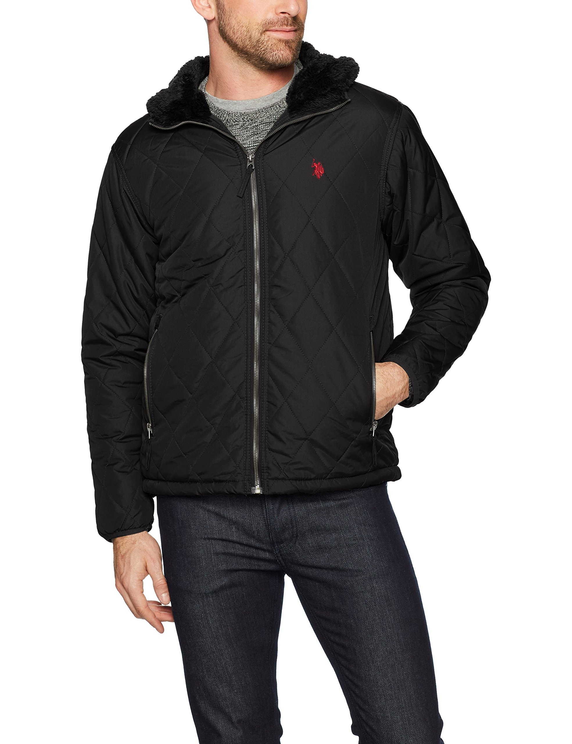 U.S. Polo Assn.. Mens Standard Quilted Jacket, Black 5970, M