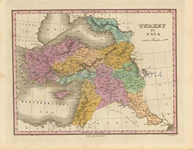 Turkey In Asia Middle East Antique Map Original Middle Eastern Decor