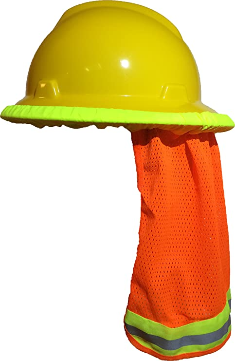 Hard Hat Neck Shade   Helmet Sun Shield With Reflective Stripe High  Visibility Safety (Orange) - - Amazon.com 9c9aab9339a9
