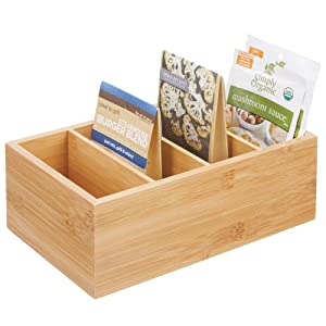 mDesign Bamboo Wood Compact Food Storage Organizer Bin Box - 4 Divided Sections - Holder for Seasoning Packets, Pouches, Soups, Spices, Snacks - Natural