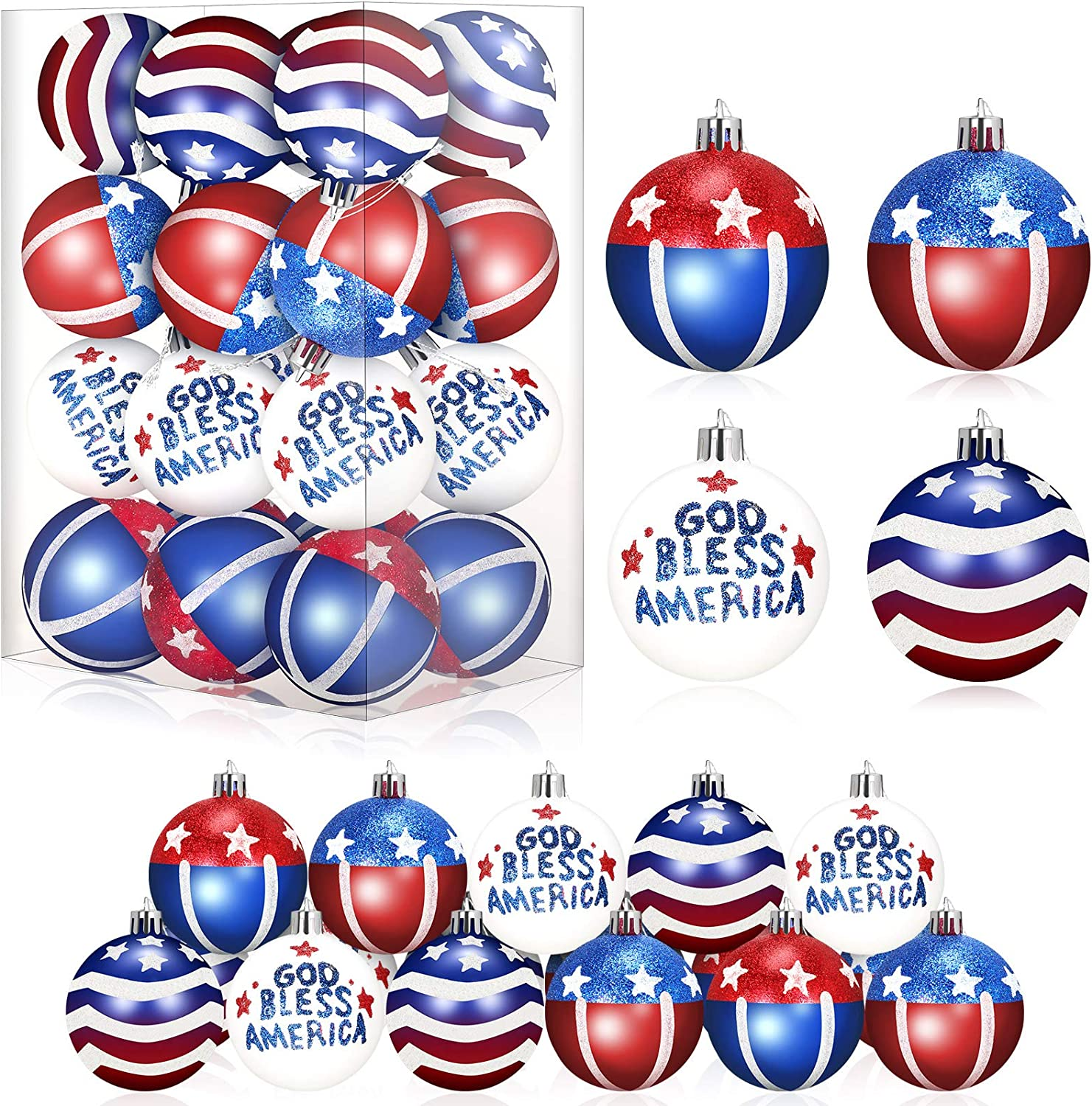 4th of July Patriotic Ball Hanging Pendant American Flag Tree Ornament Hanging Ball Prop for USA Themed Party Veteran's Day Independence Day Christmas Holiday Wedding Tree Home Wall Decor (24 Pieces)
