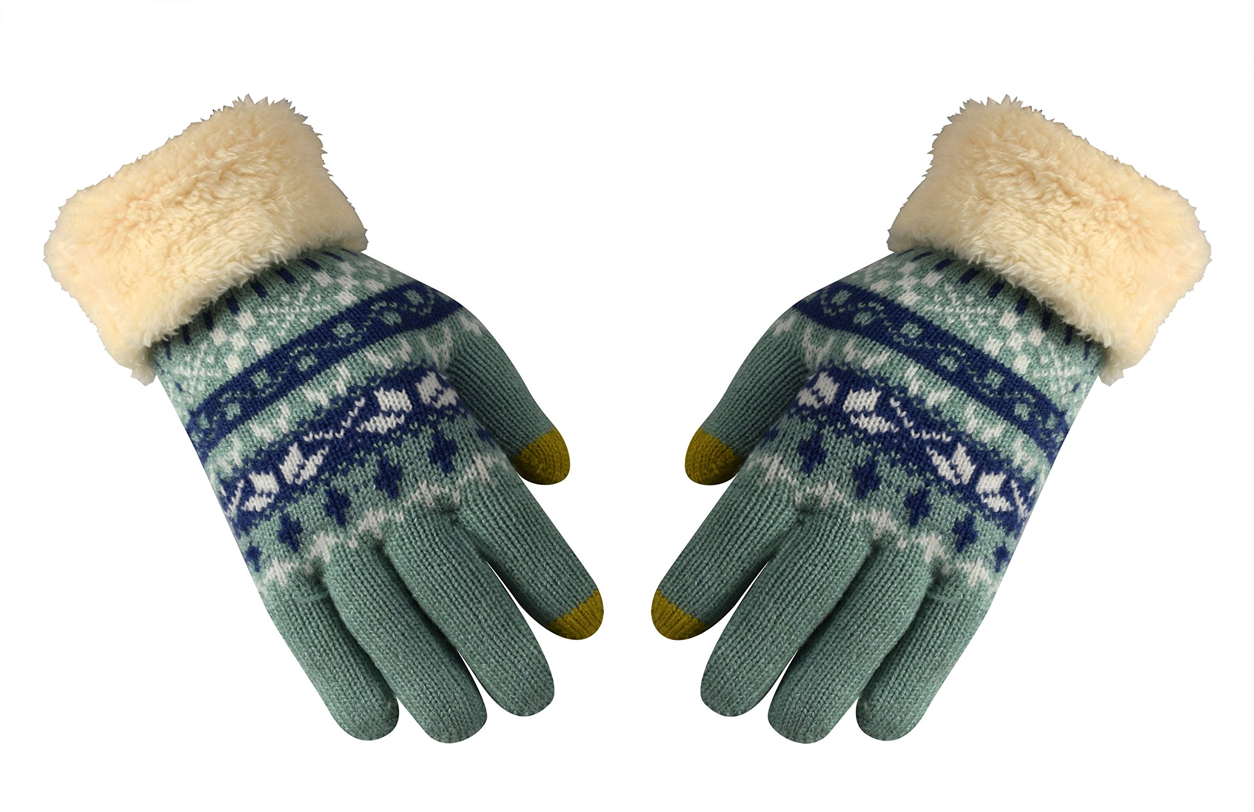 Peach Couture Double layer Lush Fleece Touchscreen Cute Snow Flake Pattern Winter Gloves Mint