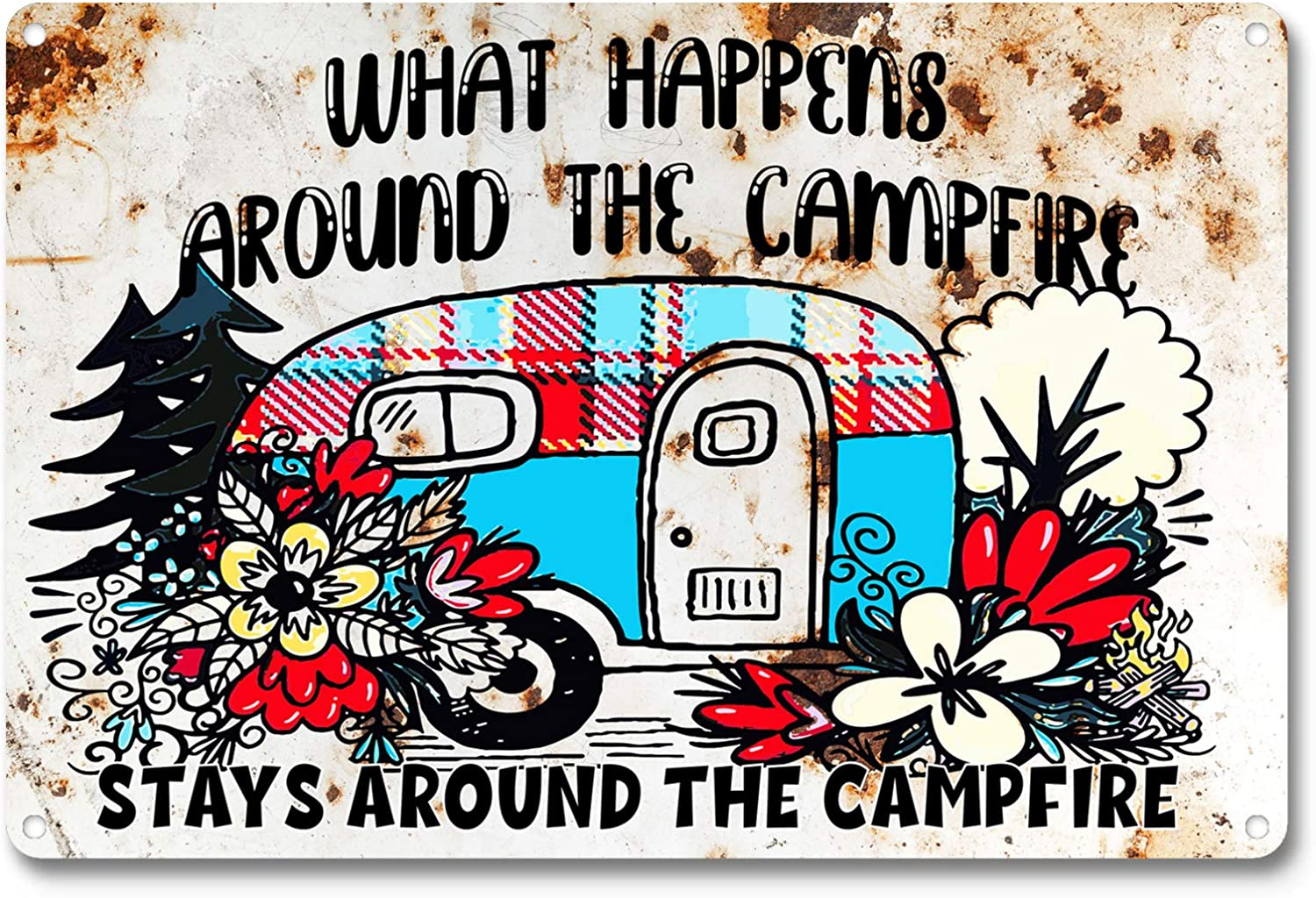 OCCdesign What Happens Around The Campfire,Stay Around The Campfire, Funny Camper Quote Camping Retro Farmhouse Metal Tin Decor Sign Gift Idea for Friend Family Motorhomes/RV Camping