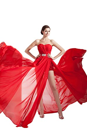 herafa p32196-8 Prom Dresses Romantic Style Sweetheart Sleeveless Ruched Delicate Beading Maxi Sheath Red