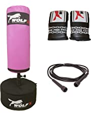 Wolfx Wolf New Kids Free Stand Bag Boxing Kick Boxing Punch Bag Stand Heavy Martial Arts Bag Mitt Skipping Rope Free Gift Set UK Made by (Pink)