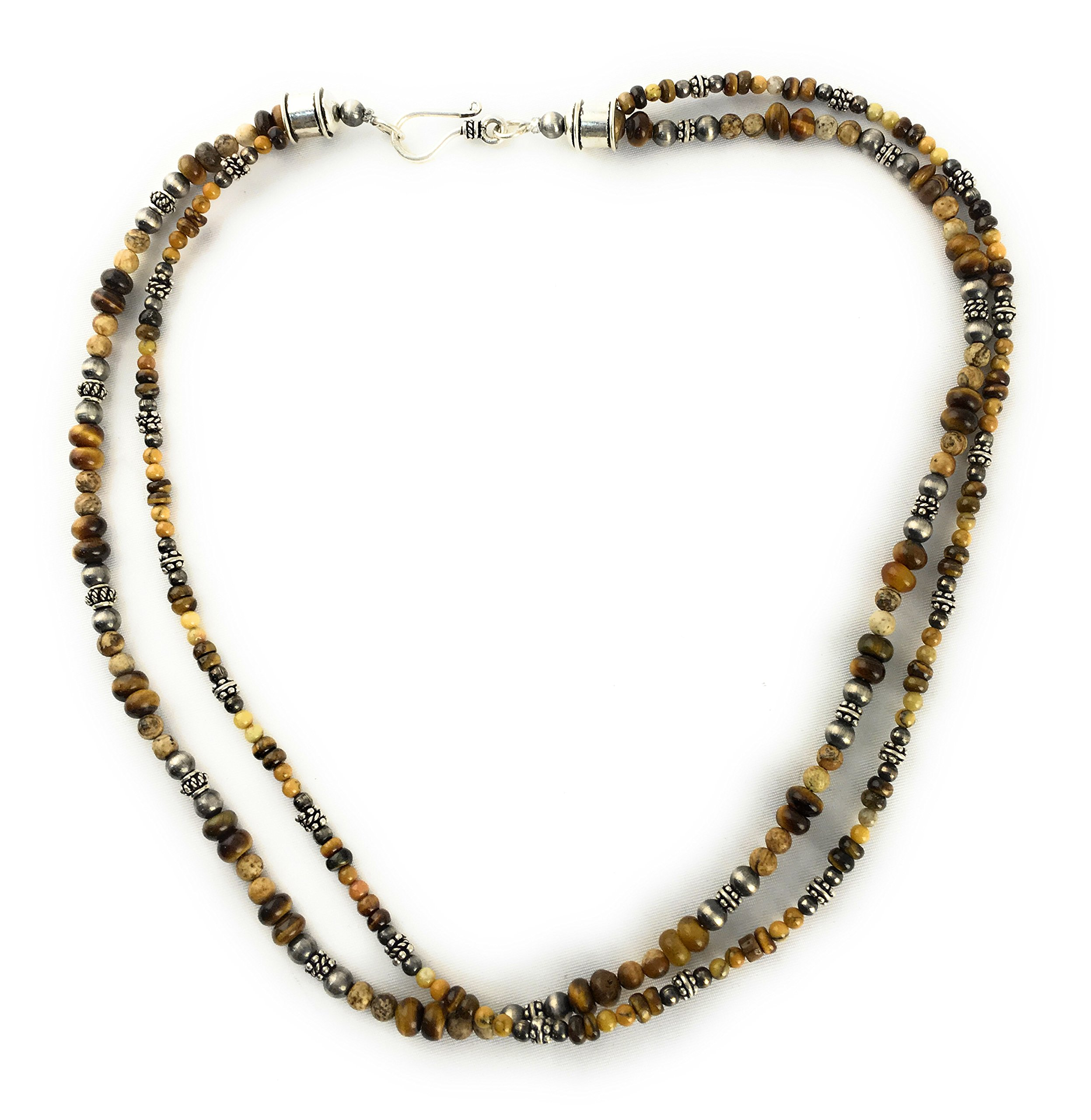 Masha Storewide Sale ! Sterling Silver Necklace By Tigers Eye, Picture Jasper, Made in USA - Exclusive Southwestern Handmade Jewelry, 2 Strand Gift
