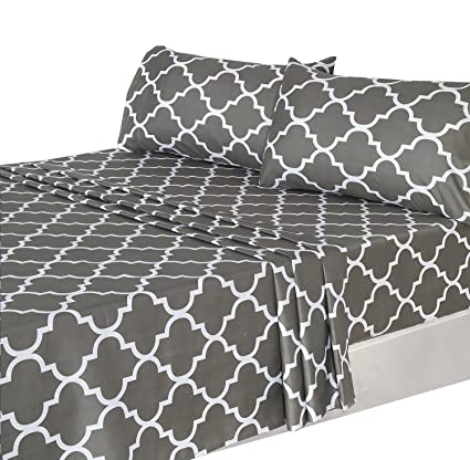 Merveilleux Utopia Bedding 4 Piece Bed Sheets Set (Queen, Grey) 1 Flat Sheet 1