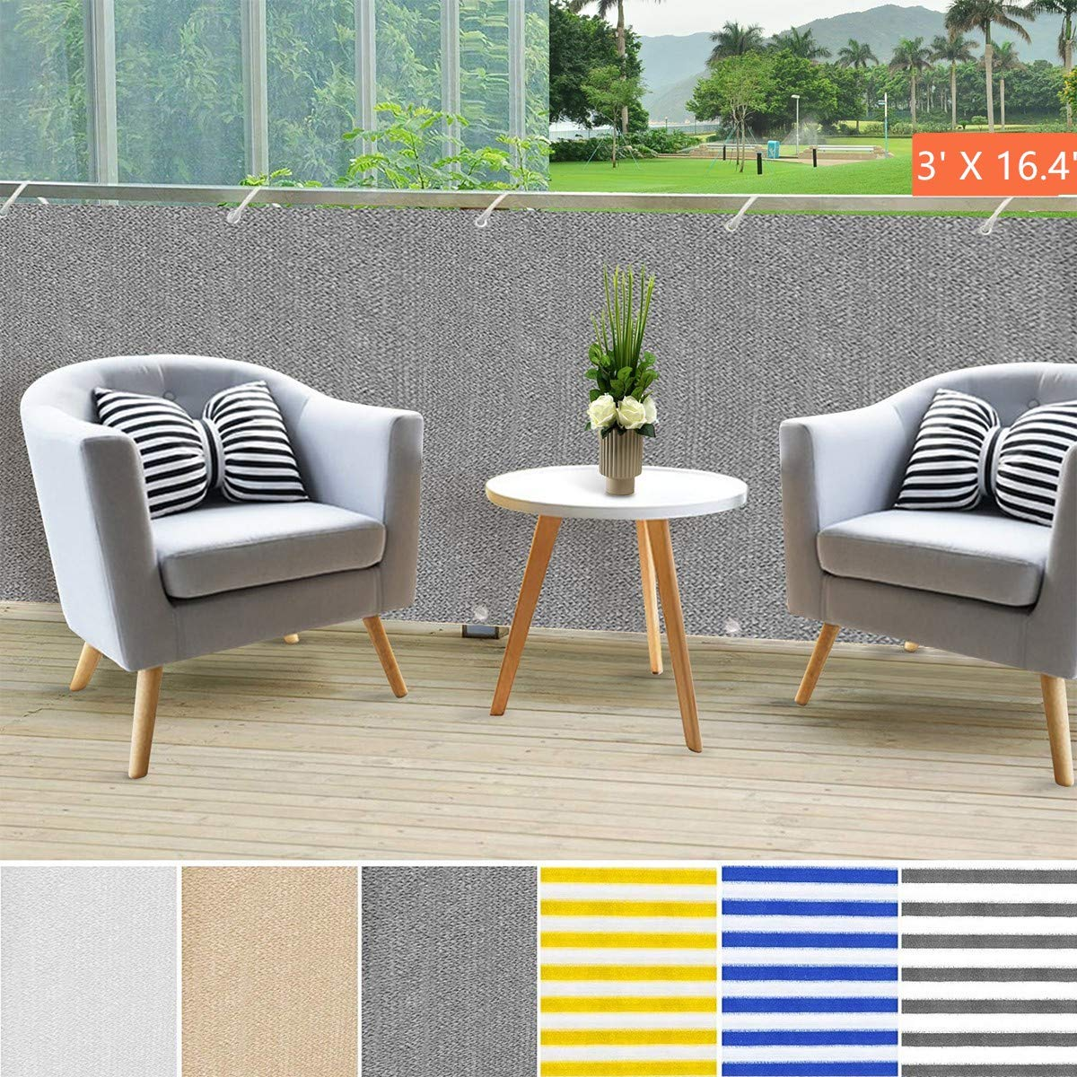 Balcony Privacy Screening Cover |Shoiwn Fence Covering for Sun Protection - 3' x 16'4'' - Blue/White Strips Multiple Colors Available (Greay)