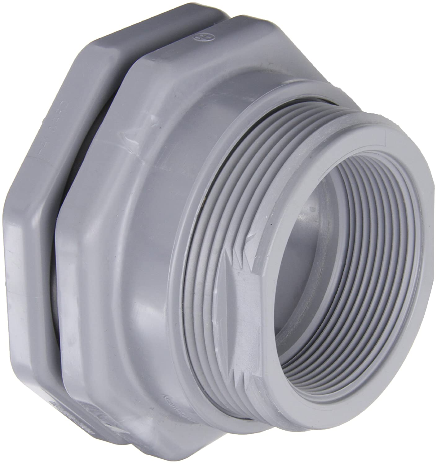Threaded x Threaded End Hayward BFAS4010TES Series BFAS Short Pattern Bulkhead Fitting GFPP with EPDM Seals 1 Size