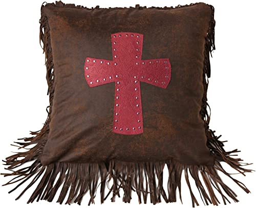 HiEnd Accents Cheyenne Tooled Faux Leather Studded Cross Throw Pillow, 1 6 x 1 6 , Red