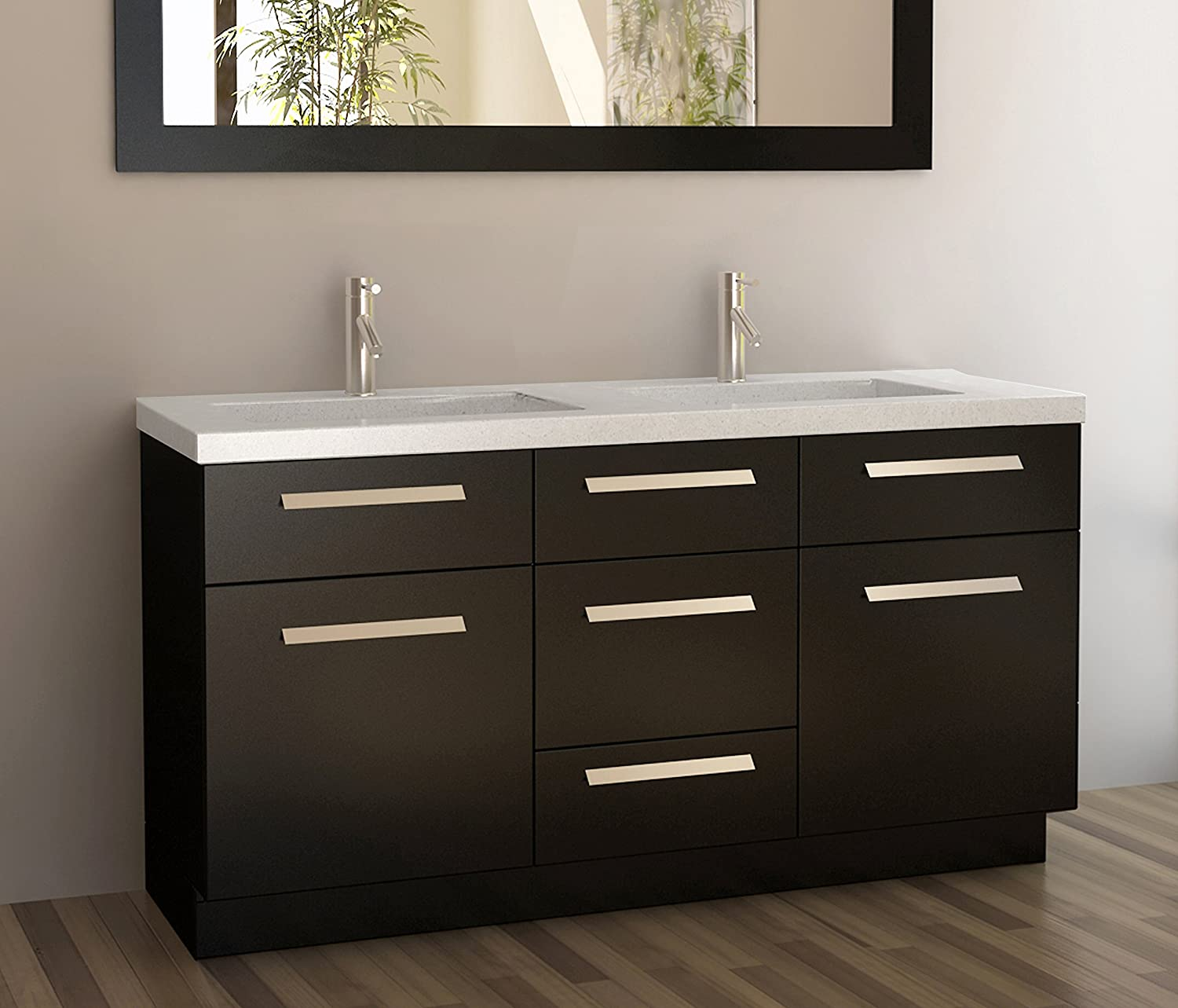 Design Element Moscony Double Sink Vanity Set with Espresso Finish  60 Inch Bathroom Vanities Amazon com