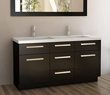 Design Element Moscony Double Sink Vanity Set With Espresso Finish, 60 Inch