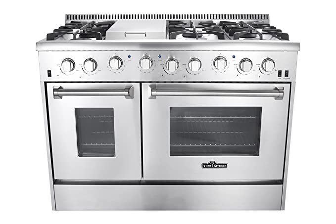 Attractive Thor Kitchen Gas Range With 6 Burners And Double Ovens, Stainless Steel