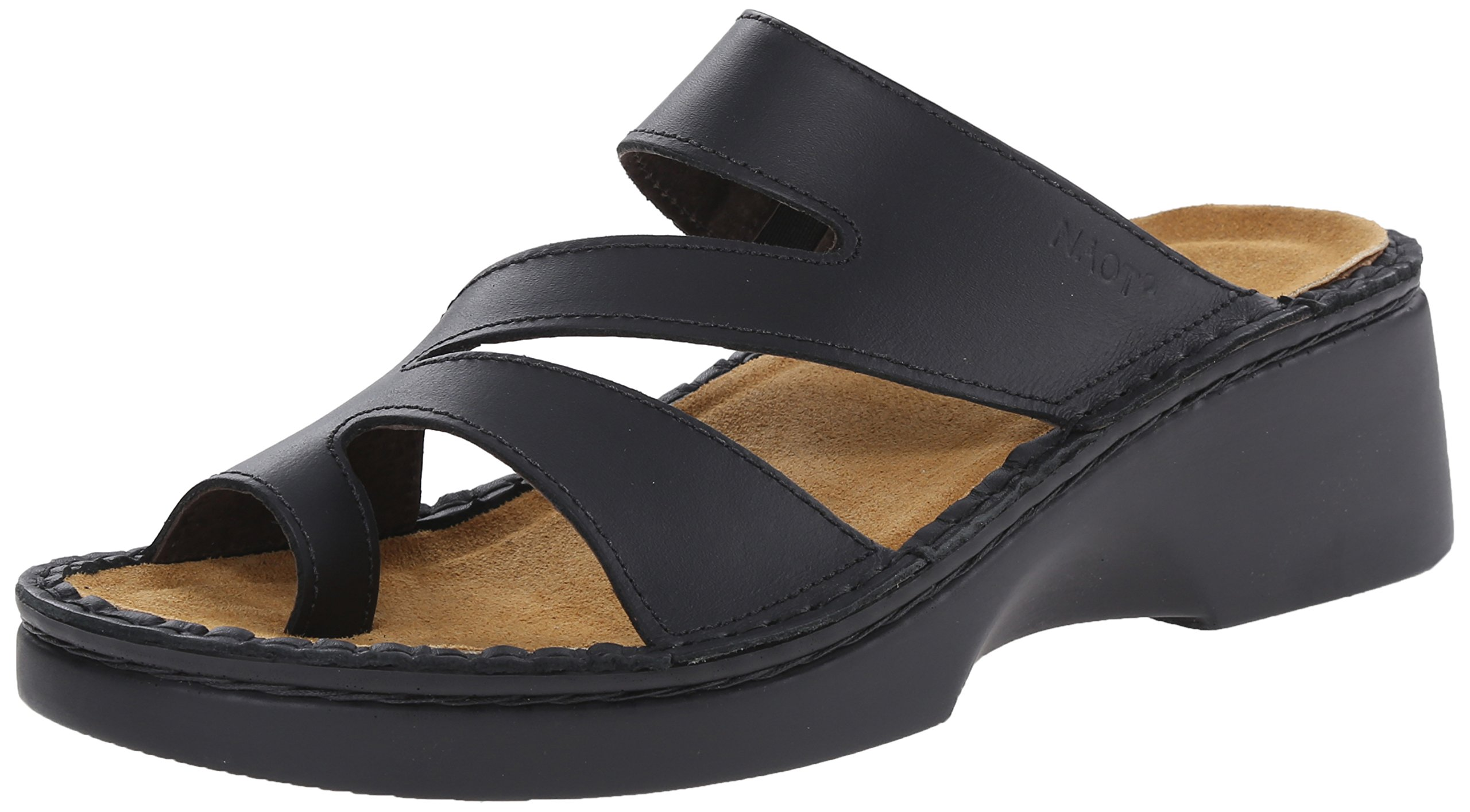 Naot Women's Monterey Wedge Sandal, Black Matte Leather, 39 EU/7.5-8 M US
