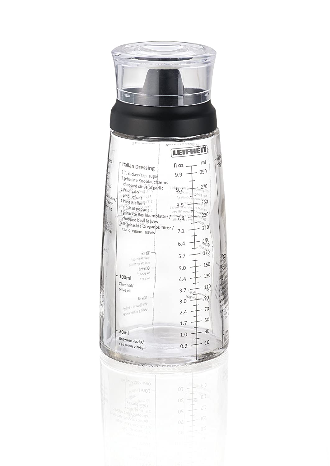 Leifheit Salad Dressing Shaker, Black/Transparent 3195