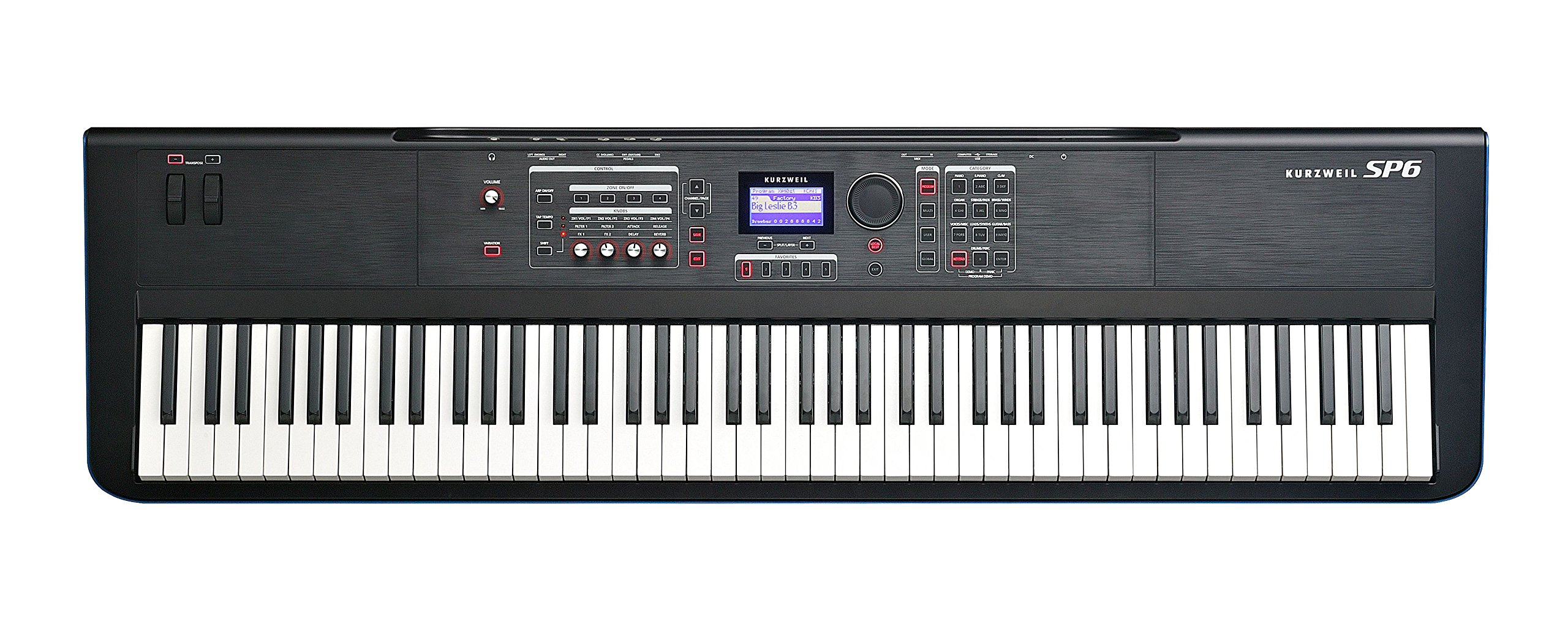 Kurzweil 88-Key Stage Piano with Fully-Weighted Hammer-Action Keyboard (SP6-8) by Kurzweil