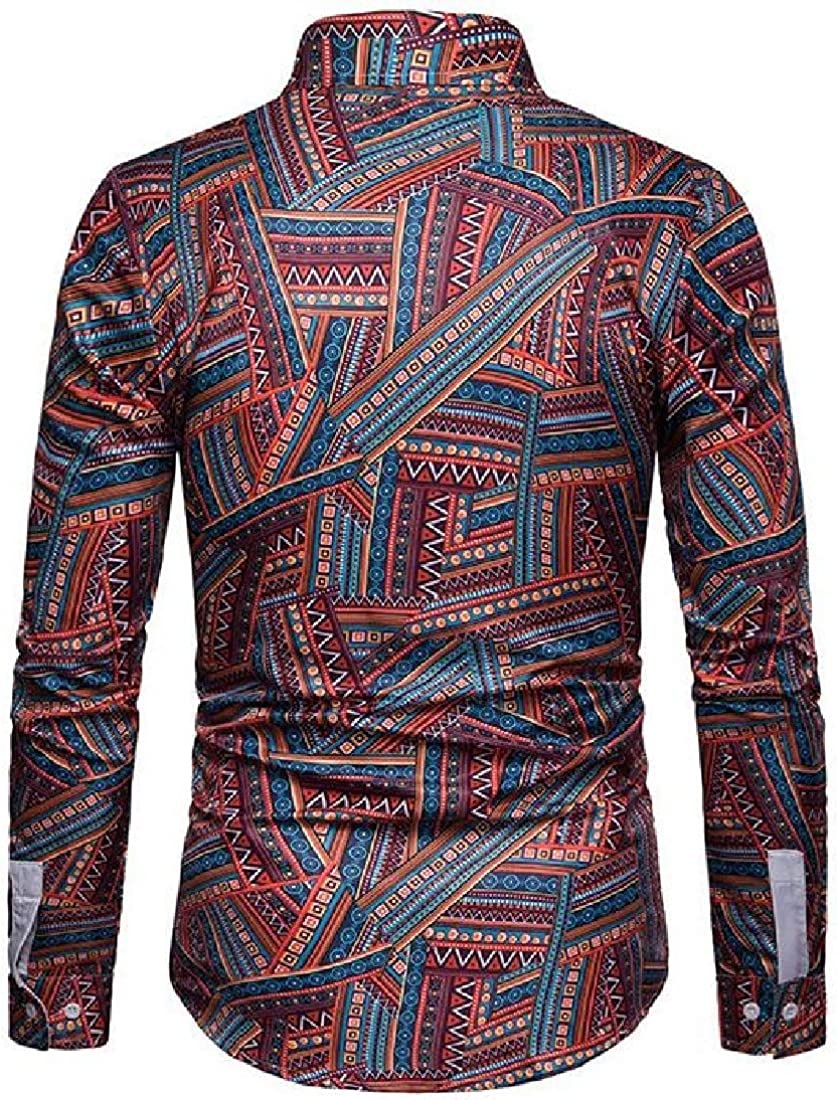 SHOWNO Men Button Up Casual Long Sleeve Ethnic Style Printed Dress Work Shirt