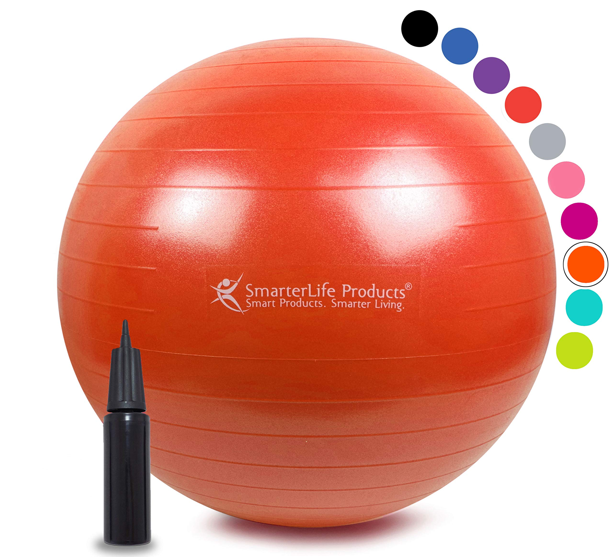 Exercise Ball for Yoga, Balance, Stability from SmarterLife - Fitness, Pilates, Birthing, Therapy, Office Ball Chair, Classroom Flexible Seating - Anti Burst, Non Slip + Workout Guide (Orange, 45 cm)