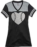 Baseball Laces Silver Glitter Heart Varsity V-Neck T-Shirt