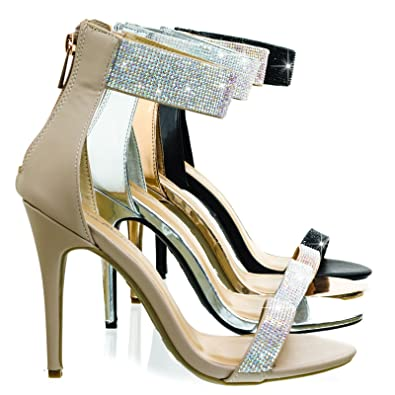 47e26b97e4f6 Anne Michelle Royals46 Nude High Heel Dance Sandal w Rhinestone Crystal    Thick Ankle Strap -
