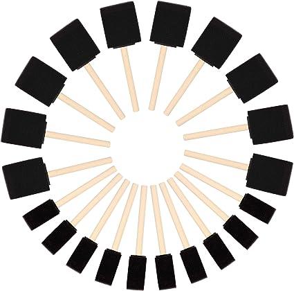 Kurtzy Brocha de Esponja para Pintar (Pack de 20) - Dos Tamaños - Set Pincel Espuma Mango de Madera – Herramienta Pintar Acrílico, Oleo, Tinte y ...