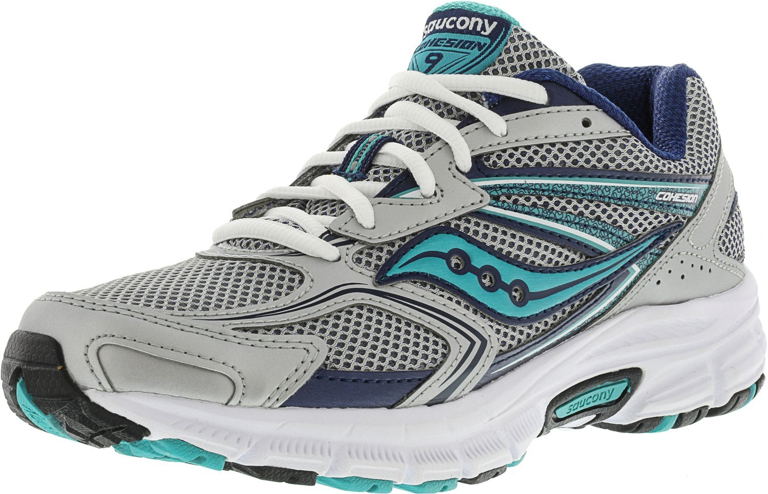 Saucony Women's Cohesion 9 Running Shoe B0713SR2HB 9 B(M) US|Silver / Navy / Teal