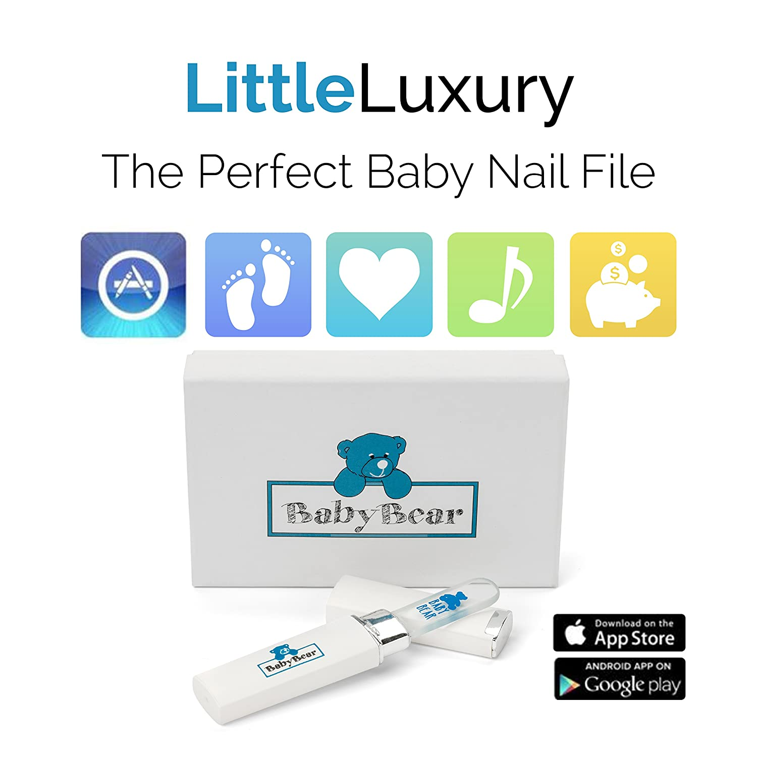 Amazon.com : Safest Rated Luxury Baby Nail File w/ Case ~ Infant ...