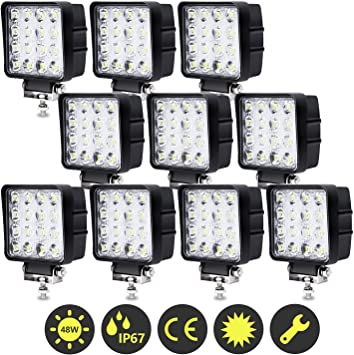 Offroad Vehicles Car LED Spotlights Auxiliary Lights Additional Headlights IP67 Waterproof Reversing Lights Hengda 6 x 72W LED Work Lights 12V Headlights for Car Truck Tractor SUV
