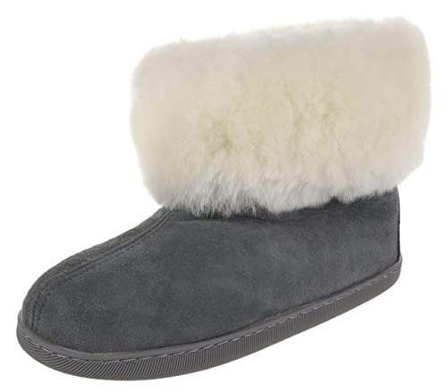 closer at reasonably priced online retailer Vogar Mens Sheepskin Leather Furry Ankle Slippers VG-11M Boots Sheep Wool  Lined