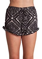 Woman Taupe Black Graphic Print Ruffle Hem Self Tie Front Shorts