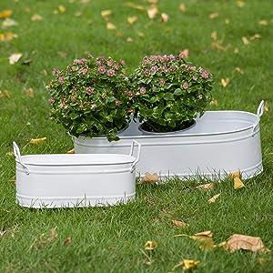 HORTICAN Garden Decor Flower Pot, Versatile Metal Tub for Plants, Oval Garden Container with Handles, Galvanized Zinc, Beverage Tub for Wedding & Parties Indoor or Outdoor (Set of 2)