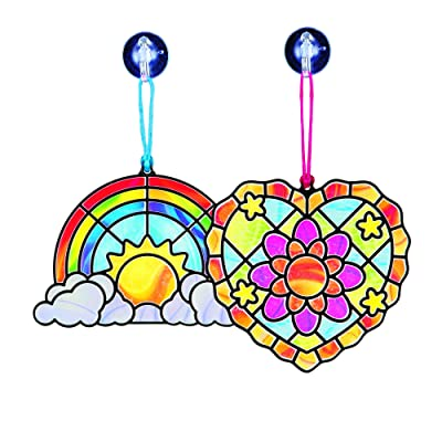Melissa & Doug Stained Glass Made Easy Activity Kit, Rainbow & Heart Ornaments (80+ Stickers, Great Gift for Girls and Boys - Best for 5, 6, 7 Year Olds and Up): Toy: Toys & Games