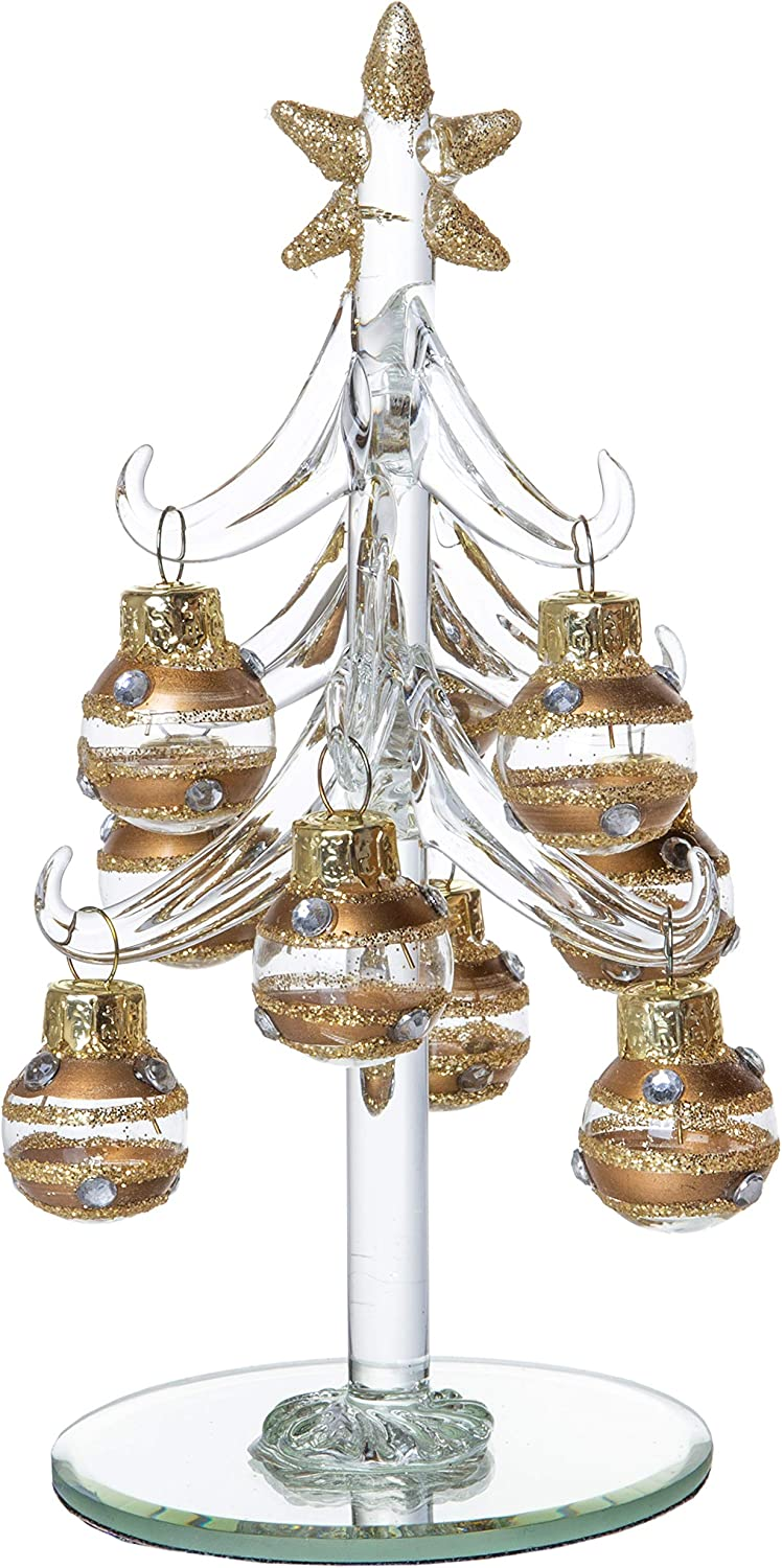 Mini Glass Christmas Tree, Small Table Top Holiday Season Décor with Removable Sphere Ornaments, Clear & Gold Champagne Striped, 6 Inches