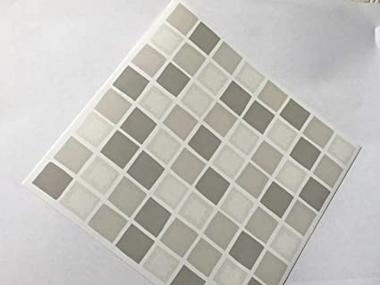 Pack Of 10 Grey Taupe Beige Mosaic Tile Stickers Peel Stick