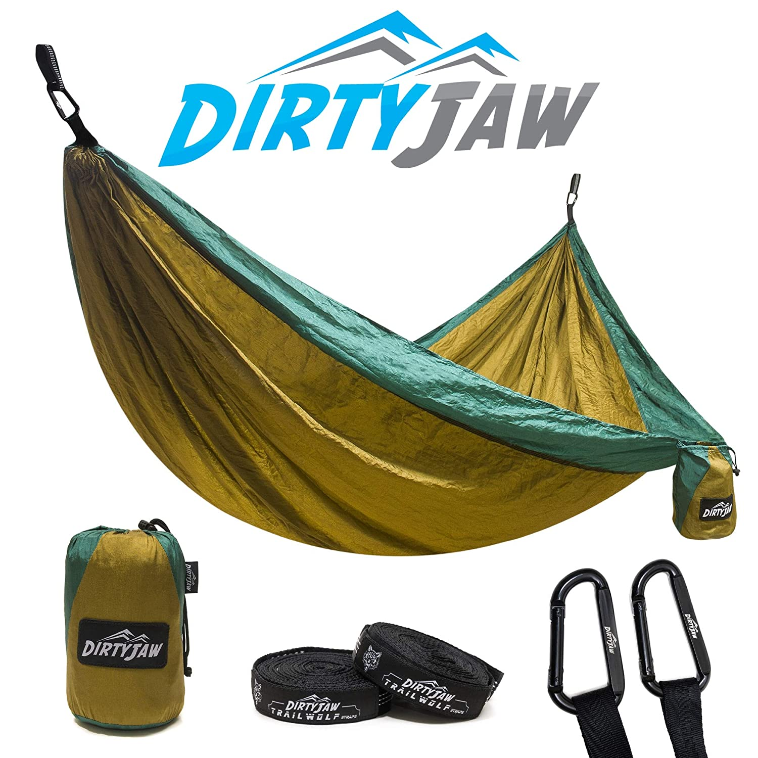DirtyJaw Double Hammock Set Parachute Lightweight Nylon with Bonus TrailWolf Suspension Tree Straps Perfect for Camping, Portable, Outdoor, Backpacking, Survival Travel USA Brand