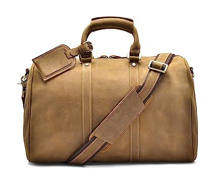 a9ffeb374ec2 Hølssen Duffel Weekender Overnight Travel Genuine Leather Bag