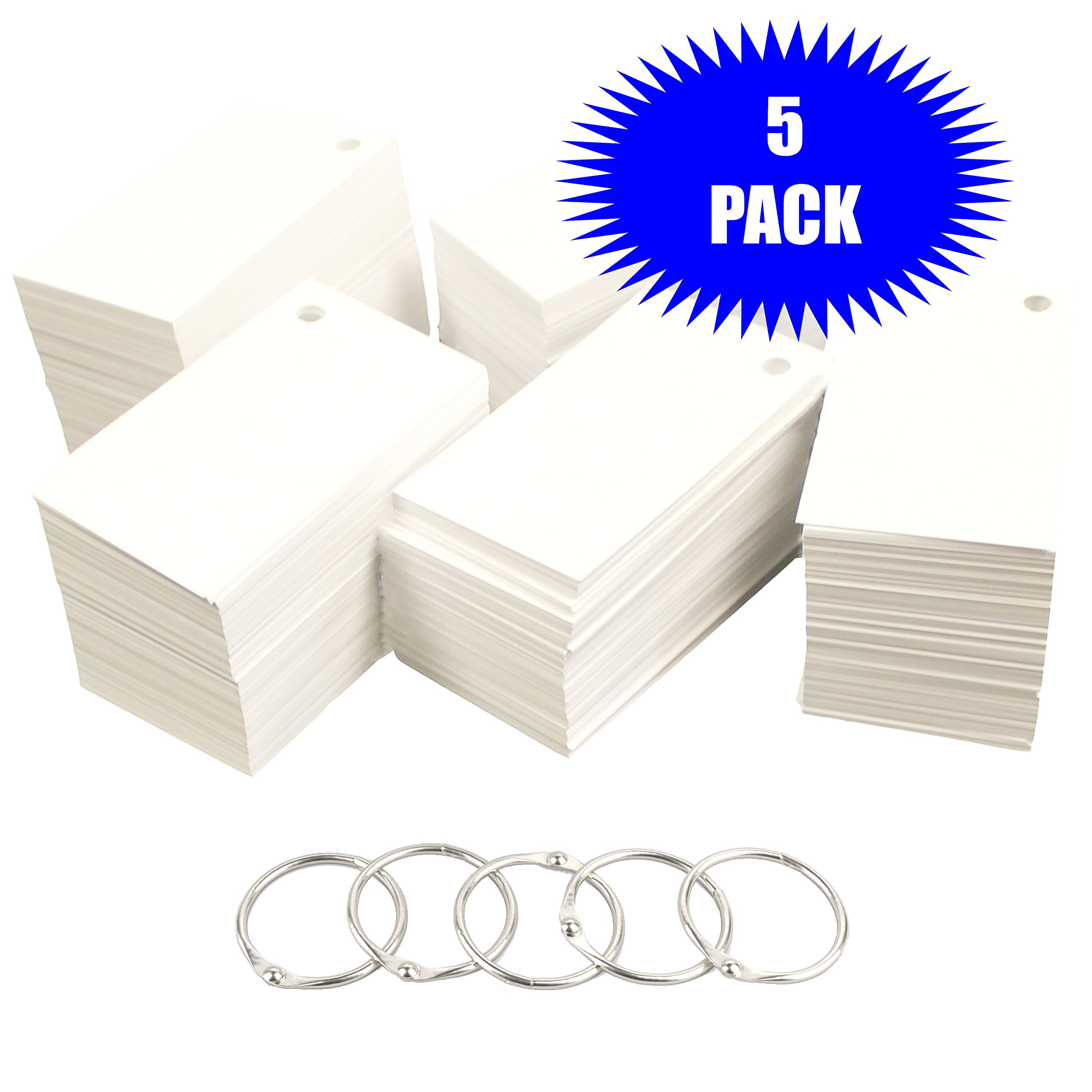 Debra Dale Designs 1,100 Small Blank Study Flash Cards - 110# White Smooth Index - Single Hole Punched with 5 Metal Binder Rings - 2'' x 3-1/2''. Best For Learning Languages (Punched 5 Pack)