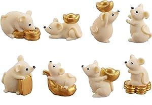 UTENEW 8 Miniature Rat Figures Office Table/Desk Decoration Figurines, Money Rats Aborable Animal Ornaments Fairy Garden Miniatures Cute Cake Toppers Resin Craft Project Micro Landscape Decor