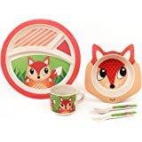 BAMBOO KIDS Meal Set   Kids Plate Set   Toddler Dinner Set   Eco-Friendly Bamboo Dishes   Food-Safe Feeding Set for Toddlers and Little Kids   Boys and Girls   FOX Character by Green Frog Friends
