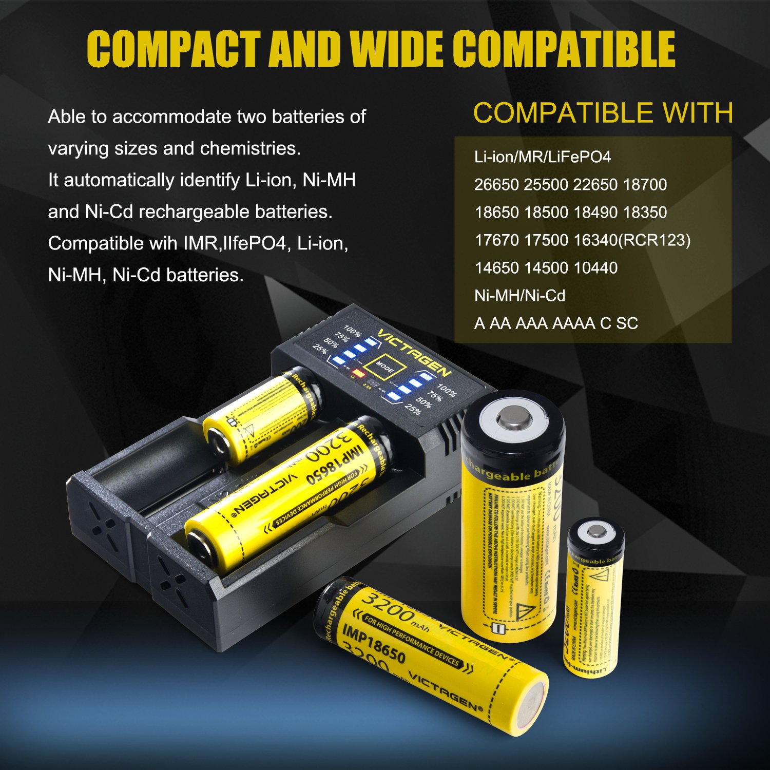 Victagen 18650 Lithium Battery (2 Packs) and Battery Charger, Universal Smart Charger For Rechargeable Batteries Li-ion 26650 18650/IMR/LiFePO4/Ni-MH/Ni-Cd 22650 18490 18350 17670 17500 16340 AA AAA C by Victagen (Image #4)