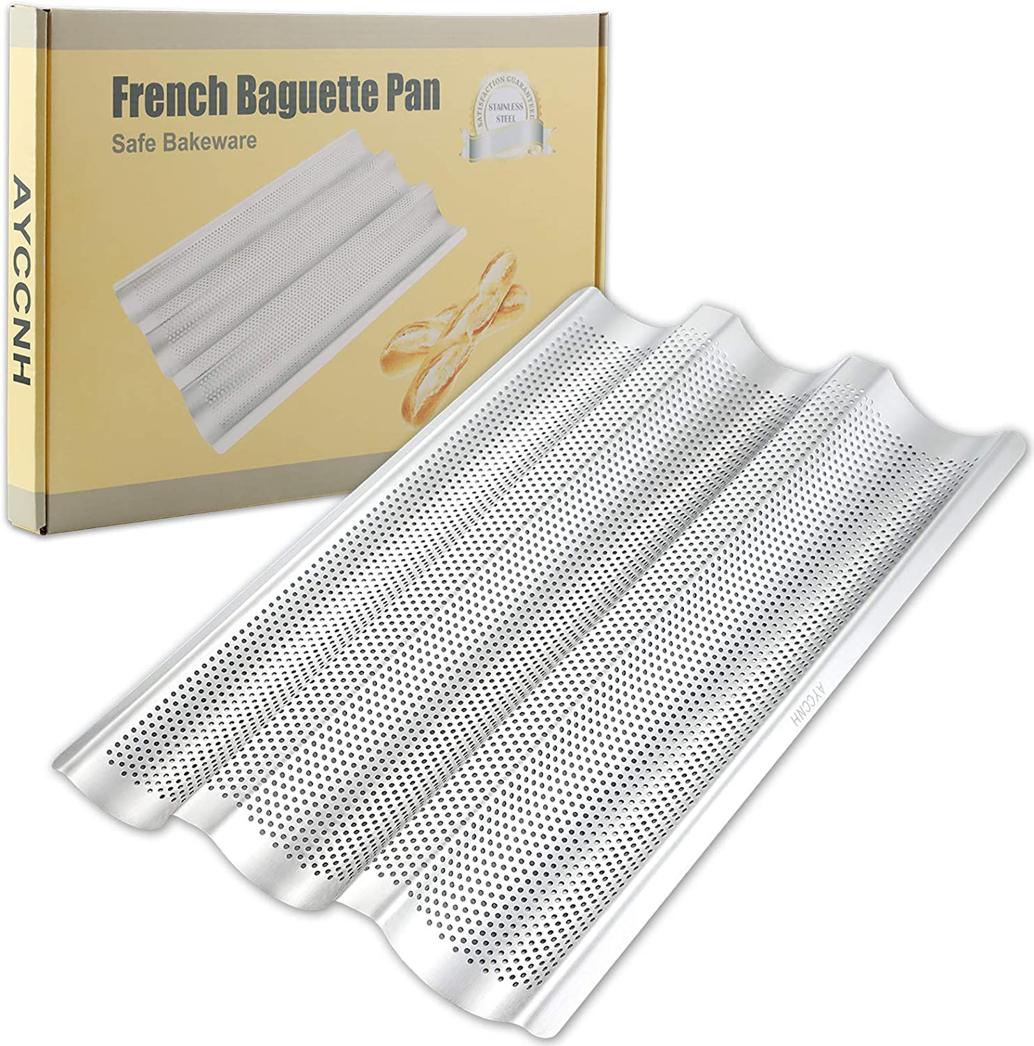 "Stainless Steel French Baguette Bread Pan, Non-Toxic Perforated Loaf Pans for Baking 15""x10"", 3 Waves Toaster Oven Baking Tray (1 Pack)"
