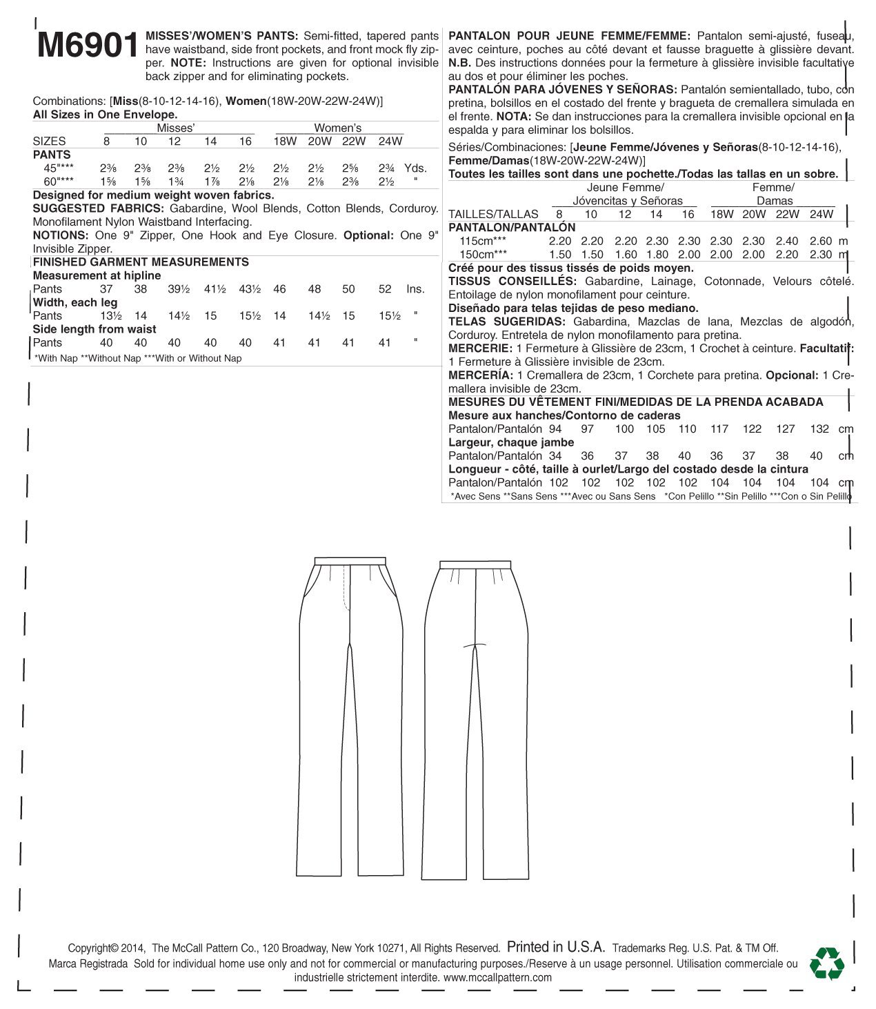McCall Pattern Company M6901 Misses//Womens Pants Sewing Template