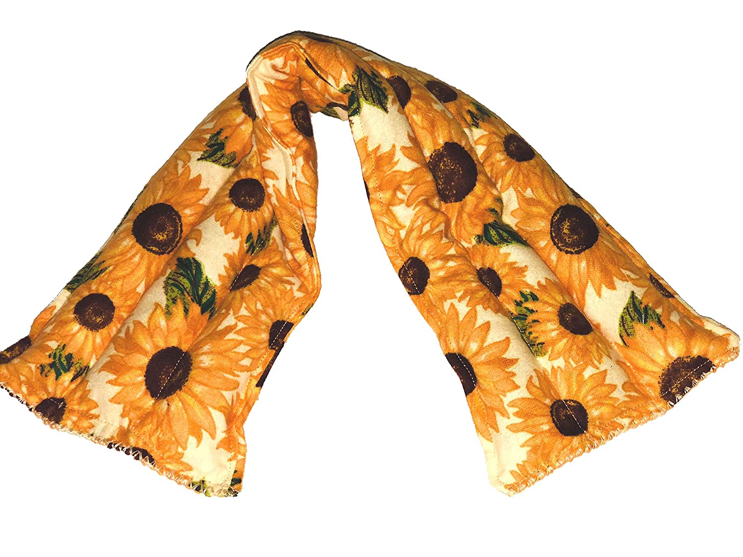 Sunflower DesignYou Pick Scent Neck Pillow Hot and Cold Neck Reusable Rice Pack 5 inches by 20 inches Handmade reusable hot pads and reusable ice packs Hot Cold Pack Ideal Gift