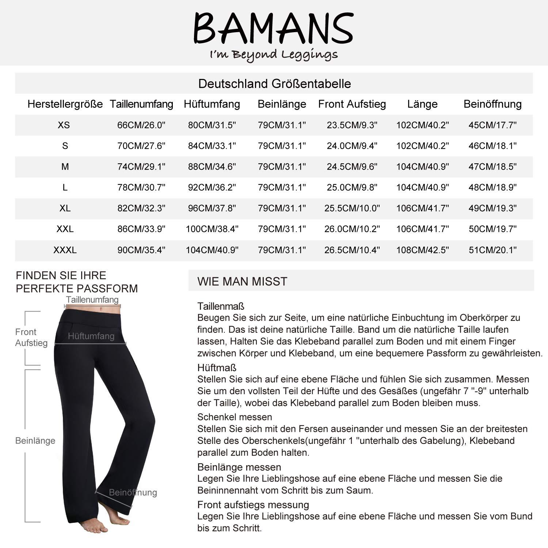 Bamans Bootcut Pantaloni da Yoga da Donna Pantaloni Sportivi con Gamba Svasata Pantaloni da Corsa Stretch Pantaloni Lunghi da Jogging con Tasche a Vita Alta